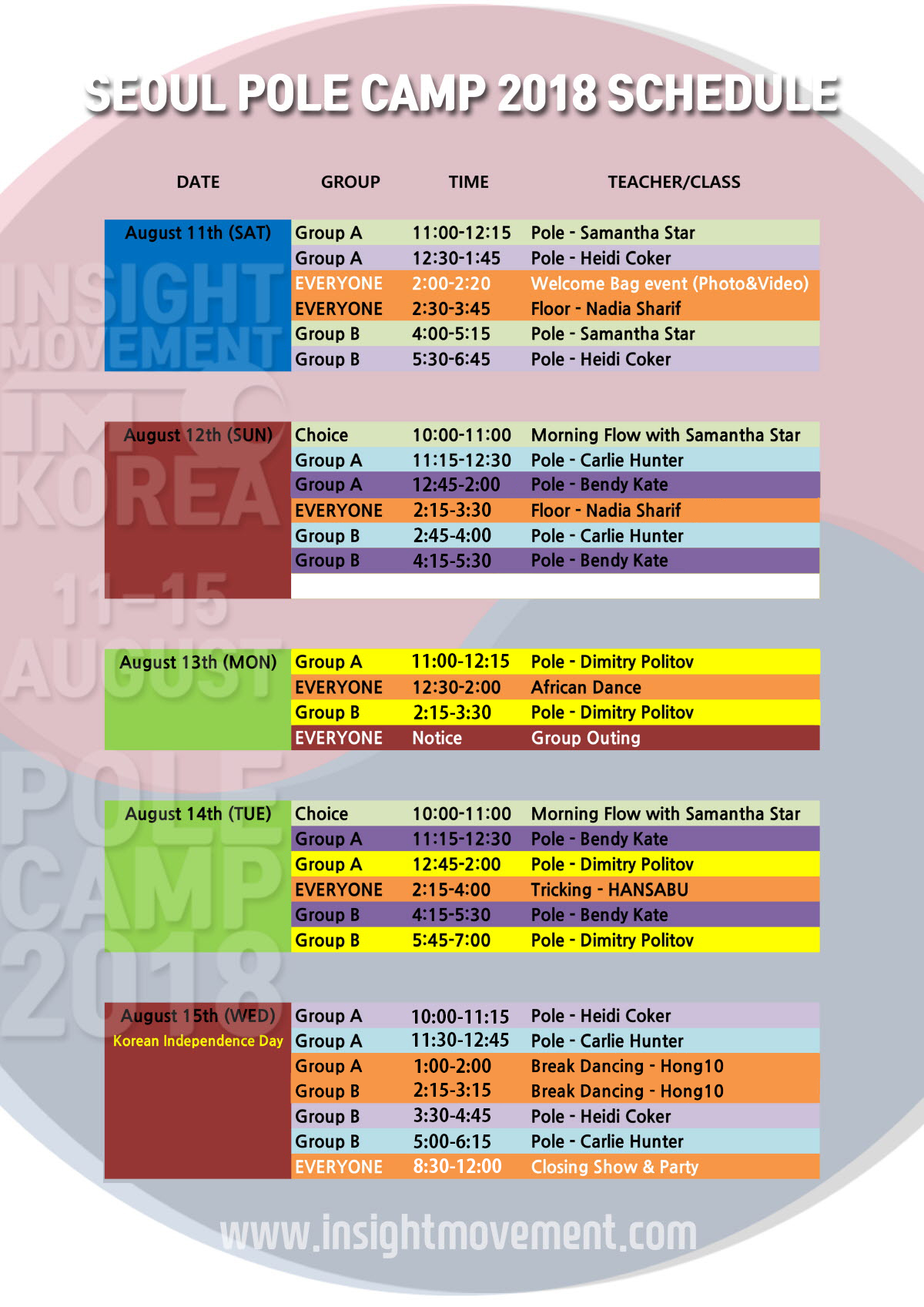 seoul pole camp 2018 schedule